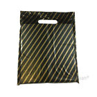 Striped Plastic Carrier Bags Black & Gold Strong Patch Handle Fashion Shops