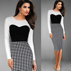 Elegant Women Houndstooth Pencil Bodycon Long Sleeve Work Tunic Dress B255