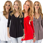 Fashion Womens Sexy Loose Cotton V-Neck Tops Long Sleeve T-Shirt Casual Blouse