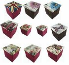 OTTOMAN Tapestry Design Folding Stool Box Chest Toy Storage Foot Seat Foldable
