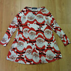 Ladies Xmas Dress Mother & Daughter Girls Christmas Santa Print Dresses White