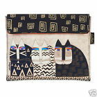 Laurel Burch Ipad Canvas Cover Case Black Cat Faces Padded Magnetic Case New