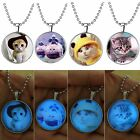 Glow in the Dark Cute Cats Steampunk Fire Pendant Necklace Stainless Steel Chain
