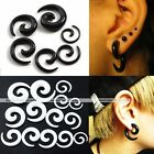Pair Cool Snail Spiral Acrylic Hook Taper Ear Plug Earring Expander Stretcher