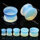 Pair Solid Opal Oplaite Stone Double Flare Ear Plug Saddle Flesh Tunnels Gift