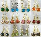 12mm green blue yellow pink red shell pearl / jade wedding party dangle earrings