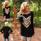 Fashion Women Ladies Sequin Long Sleeved Crew Neck Loose Blouse Sexy T-Shirt Top
