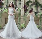 Cheap White Ivory Wedding Dresses Mermaid Lace Appliques Bridal Gowns Size 2-16
