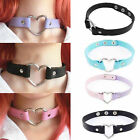 Punk CHIC Rivet Handmade Chain PU Leather O-Ring Heart Collar Choker Necklace AA