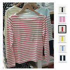 UNIQLO Women STRIPED BOAT NECK LONG SLEEVE T-Shirt Colors 100%Cotton NEW 163156
