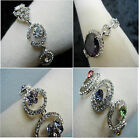 Bridal Clear Purple Green Red Blue Swarovski Crystal Rings GP Silver Bracelet