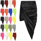 Womens Skirt Ladies Asymmetric Ruched Jersey Side Split Drape Long Midaxi Skirt
