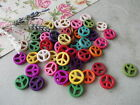 50/100 PEACE SIGN,HOWLITE STONE BEADS,MIXED COLOURS,JEWELLERY CRAFT SCRAPBOOKING
