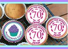 24 PERSONALISED 70th BIRTHDAY PINK DESIGN CUPCAKE TOPPER RICE, WAFER or ICING