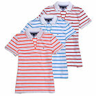 Tommy Hilfiger Striped Emma Polo Womens Buttonless Classic Fit Short Sleeve New