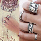 C 4PCS Silver Punk Vintage Ring Women Retro Elephant Finger Rings Set Boho Style