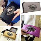 Fashion Women Long PU Leather Wallet Zip Ladies Skull Handbag Card Coin Purse