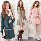 Women Ladies Casual Long Sleeve Belted Tunic Cocktail Party Mini Dress Skater