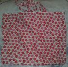 Red/ pink Strawberries strawberry reusable  tote bag handmade