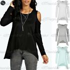 Womens Plain Hi Lo Dipped Hem Top Ladies Round Neck Baggy Oversized Crop Top