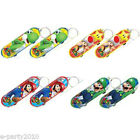 SUPER MARIO MINI SKATEBOARD KEYCHAINS (8) ~ Birthday Party Supplies Favors Toys