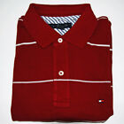 Tommy Hilfiger Polo Shirt Mens Polos Burgandy Men Classic Fit Stripes xs V072