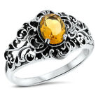 GENUINE CITRINE ANTIQUE FILIGREE STYLE 925 STERLING SILVER RING,            #854