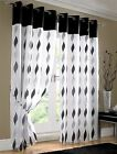 BLACK WHITE WAVES FULLY LINED RING TOP VOILE CURTAIN DRAPES *4 SIZES*