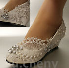 "su.cheny 2"" White ivory wedges pearls lace crystal Wedding Bridal heels shoes"