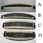LONG BLACK PLASTIC BANANA HAIR CLIP FAUX PEARLS 4 STYLES TO SELECT FROM