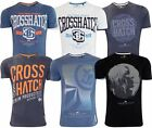 Mens New Printed Crosshatch T-shirts Tee Casual Cotton Top in Five Styles