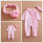 Long Sleeve Newborn Baby Girls Romper Jumpsuit Headband Clothes Outfits Set 0-1T