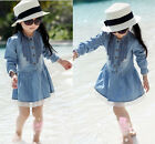 Girl Kids 2-8Y Denim Blue Beautiful Lace Cowboy Clothes Long Sleeve Dress RFV
