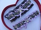 NEW Gorgeous Mossy Oak Lavender Black Wedding Garter Prom Camo Camouflage