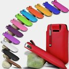 PU LEATHER PULL TAB POUCH RETRACTABLE STYLUS FOR SAMSUNG GALAXY S2 S 2 II I9100