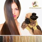 "24"" 100% Indian Remy Human Hair ITip Micro Bead Ring Extension Darkest Brown #1b"