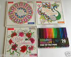 Colour Therapy Adult Colouring Book Anti Stress Calm Relaxing  & 20 Felt Pens