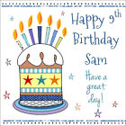 Boys Quality Personalised BIRTHDAY CARD ~ CAKE CANDLES, ANY NAME AGE RELATION