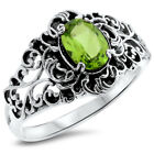 GENUINE PERIDOT ANTIQUE STYLE 925 SOLID STERLING SILVER RING,               #857