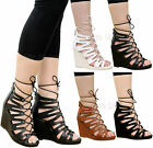 Ladies Womens Lace Up High Wedge Heels Ankle Strap Gladiator Sandals Shoes Size