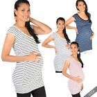Maternity Womens Striped Long Casual T Shirt Vest Top Pregnancy Everyday Blouse