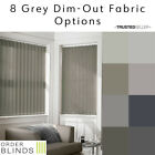 "Made To Measure 89mm (3.5"") Grey Dim-Out Semi Opaque Complete Vertical Blinds"