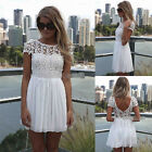 Women Summer Bandage BodyCon Lace Evening Sexy Party Cocktail MINI Dress White
