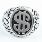 Black & Silver Oval Carved Money Sign Dollar Flower Floral Stainless Steel Ring
