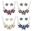18K Gold Austrian Crystal Enamel Flower Jewelry Sets Necklace and Earring Set