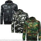MENS ARMY CAMOUFLAGE HOODIE S - 5XL GAME CAMO FLEECE LINED HOODY WOODLAND