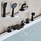 Oil Rubbed Bronze Waterfall Bathtub Faucet 3 Handles Mixer Tap W/ Hand Shower