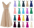 Short Formal Chiffon V Neck Bridesmaid Dresses Cocktail Party Evening Prom Gowns