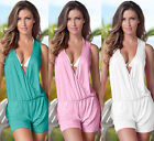 Women Sexy Candy Color V-Neck Playsuit Bodycon Jumpsuit Beach Romper Trousers