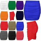 Womens Ladies Plain Stretchy Side Ruched Pencil Tube Bodycon Mini Length Skirt
